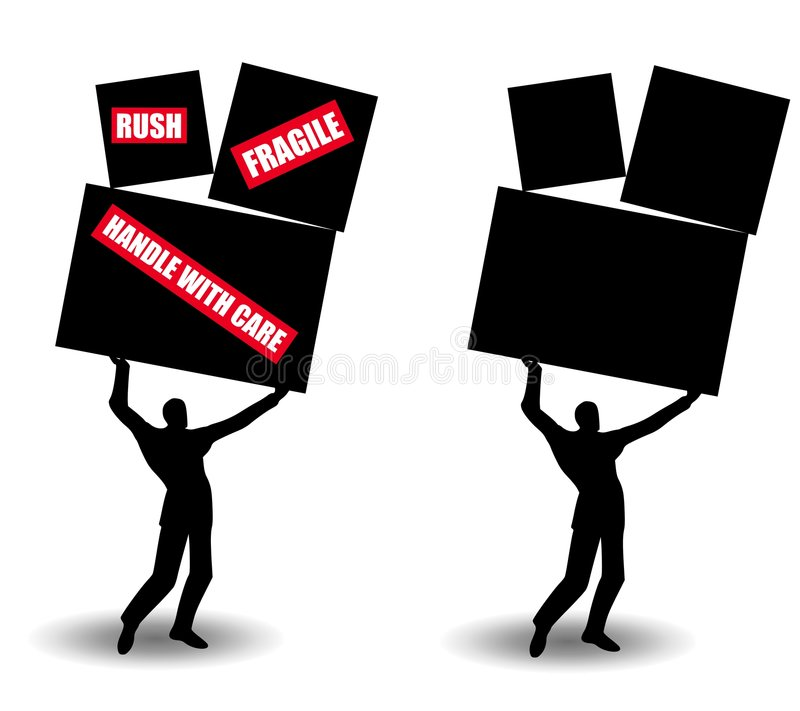 Download Small Man Shipping Large Boxes Stock Illustration - Image: 4318165