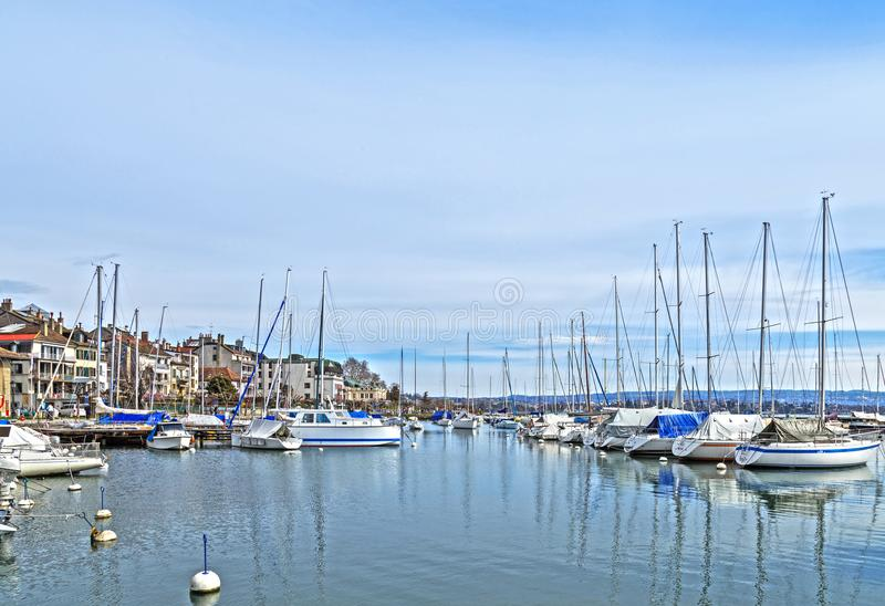 Small marina, city of Morges 2 stock image