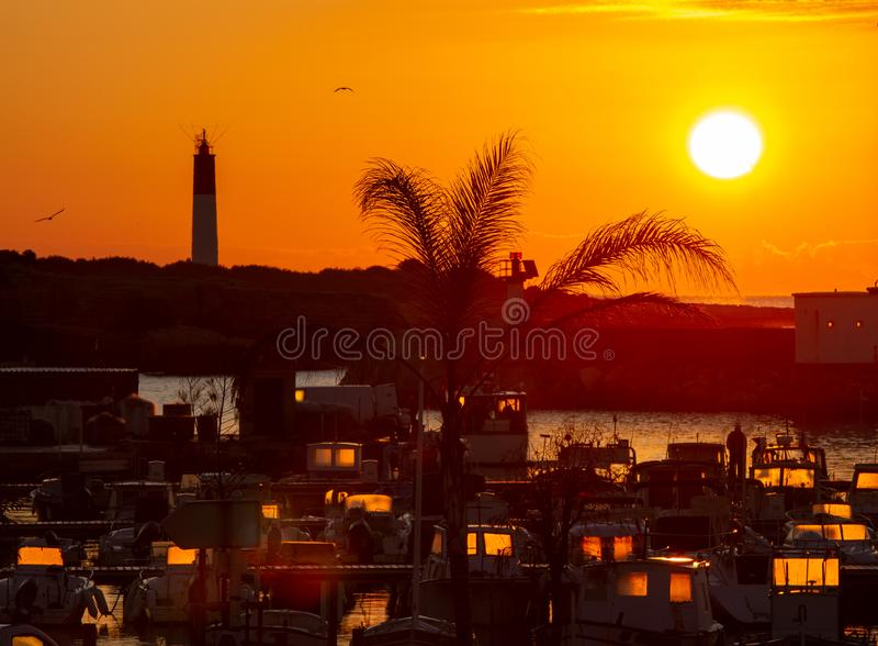 Small marina at sunrise. Port Carro, Marseille, France stock images