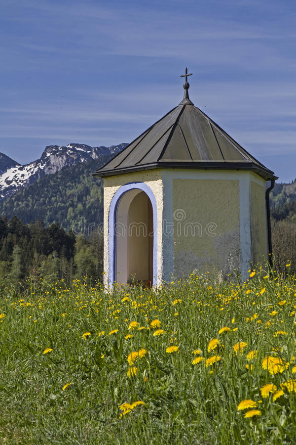 Small meadows chapel in Isarwinkel royalty free stock image