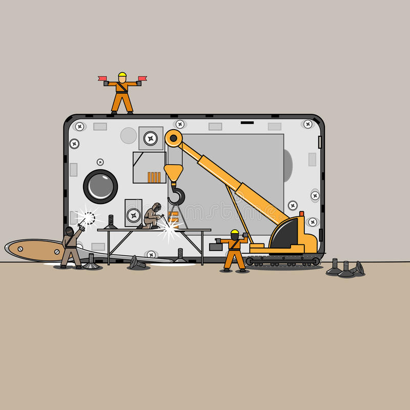 Small mechanics repair my cell phone vector illustration