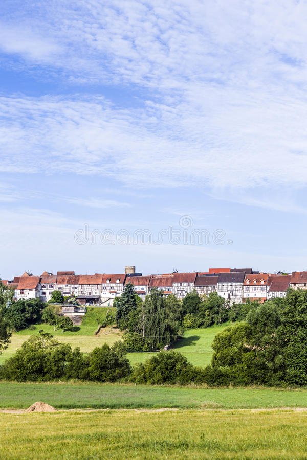 Small medieval town Walsdorf. View to the medieval town Walsdorf (Idstein) with the front of barns in morning light royalty free stock image