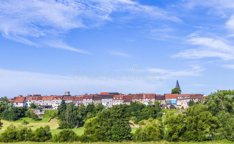 Small medieval town Walsdorf. View to the medieval town Walsdorf (Idstein) with the front of barns in morning light royalty free stock images