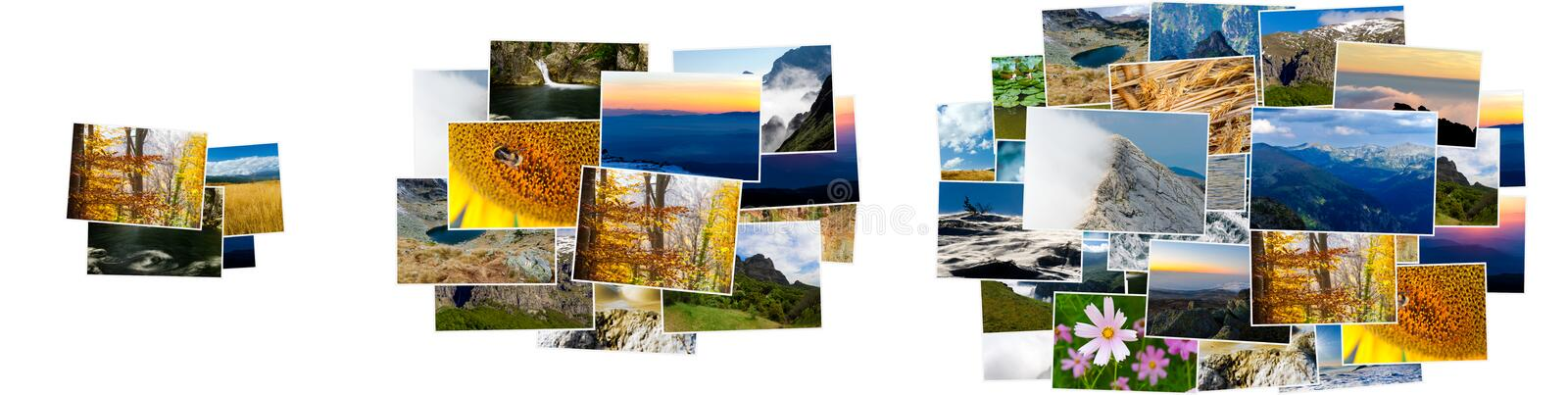 Small, medium and large piles of photos royalty free stock photo