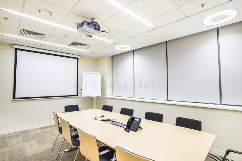 Small Meeting Or Training Room With Tv Projector Stock