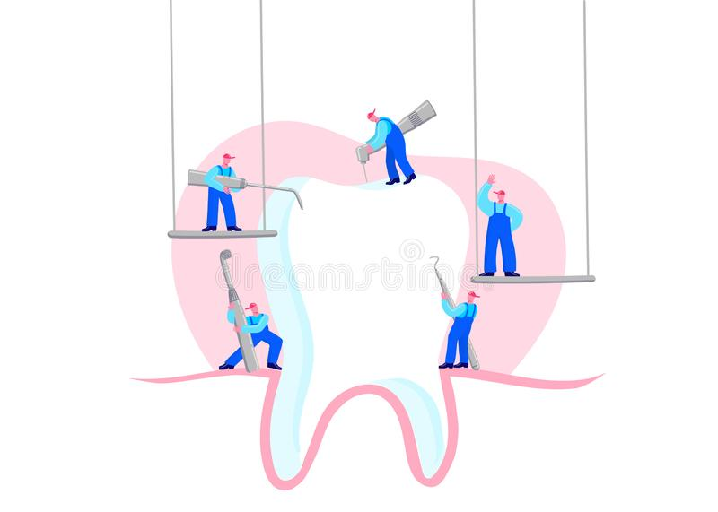 Small men treat, clean big tooth dental insturment. Dentistry work concept. Handdraw vector illustration royalty free illustration