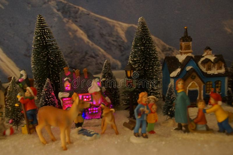 Small miniature village with Christmas decoration stock image