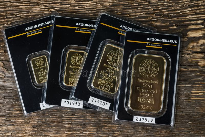 Small minted bars produced by the Swiss factory Argor-Heraeus - is one of the world's largest processors of precious metals. royalty free stock image