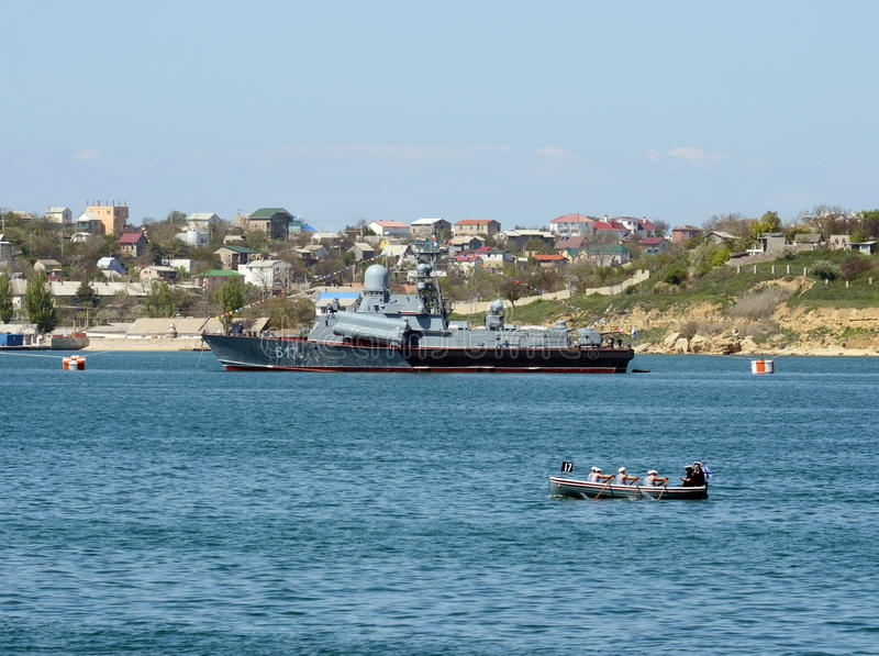 Small missile ship `Mirage` with a tail number 617 in the bay of Sevastopol. royalty free stock photo
