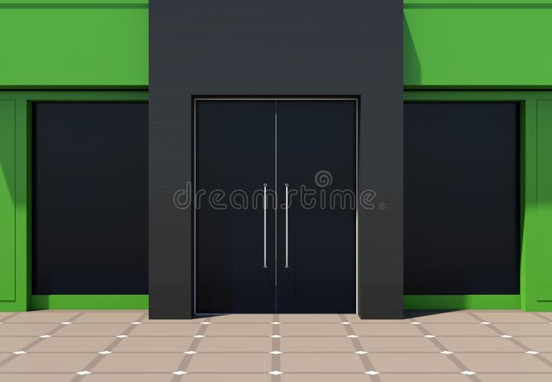 Small green shopfront facade. Small modern green shopfront - luxurypink shop building for small business vector illustration