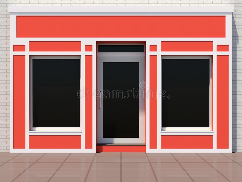 Small orange shopfront facade. Small modern orange shopfront - luxury orange shop royalty free illustration