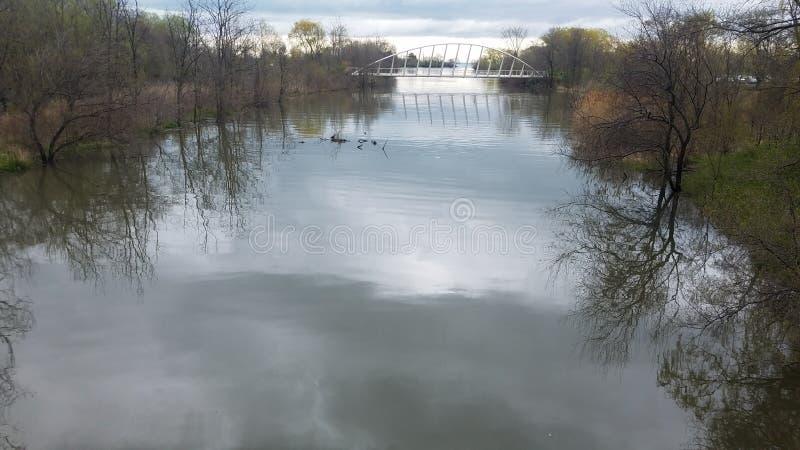 Modern river bridge in Canada royalty free stock image
