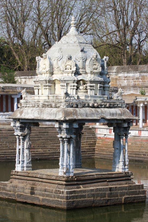 Small monument in water, Ekambareswarar Temple, Kanchipuram, Tamil Nadu, India stock image