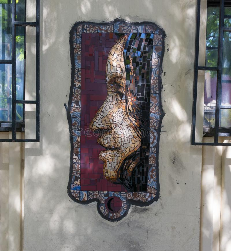 Small mosaic on a street in the neighborhood of Miraflores, in h. SANTIAGO DE CHILE, CHILE - JANUARY 26, 2018: Small mosaic on a street in the neighborhood of royalty free stock photos