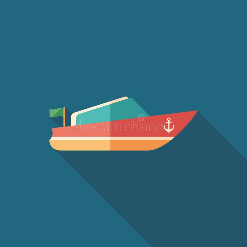 Small motor boat flat square icon with long shadows. stock illustration