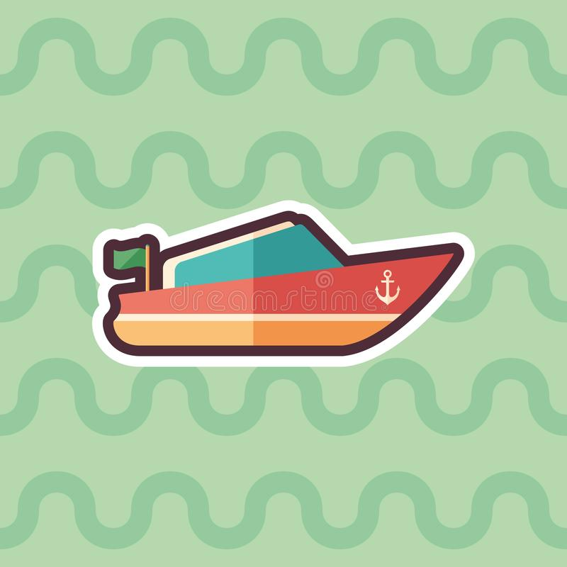 Small motor boat sticker flat icon with color background. vector illustration