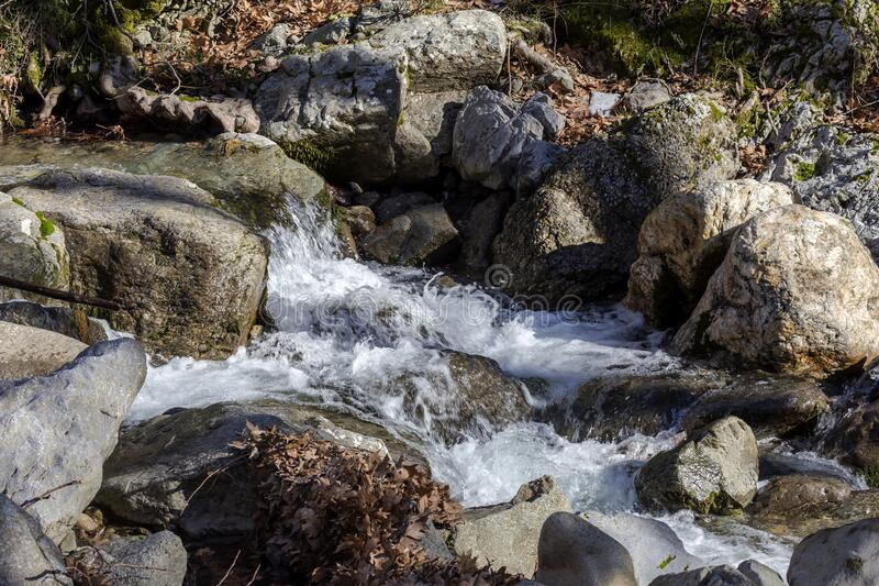 Small mountain river on a winter day Greece, Evia island. A small, mountain, cold, fast river flows among the forest on a sunny, winter day Greece, Evia island royalty free stock photo