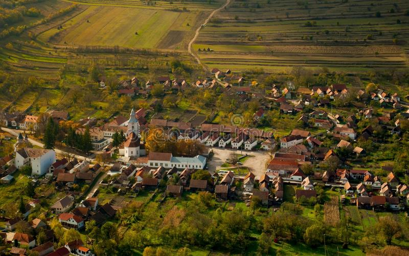 Small mountain village. Aerial view over a mountain village stock images