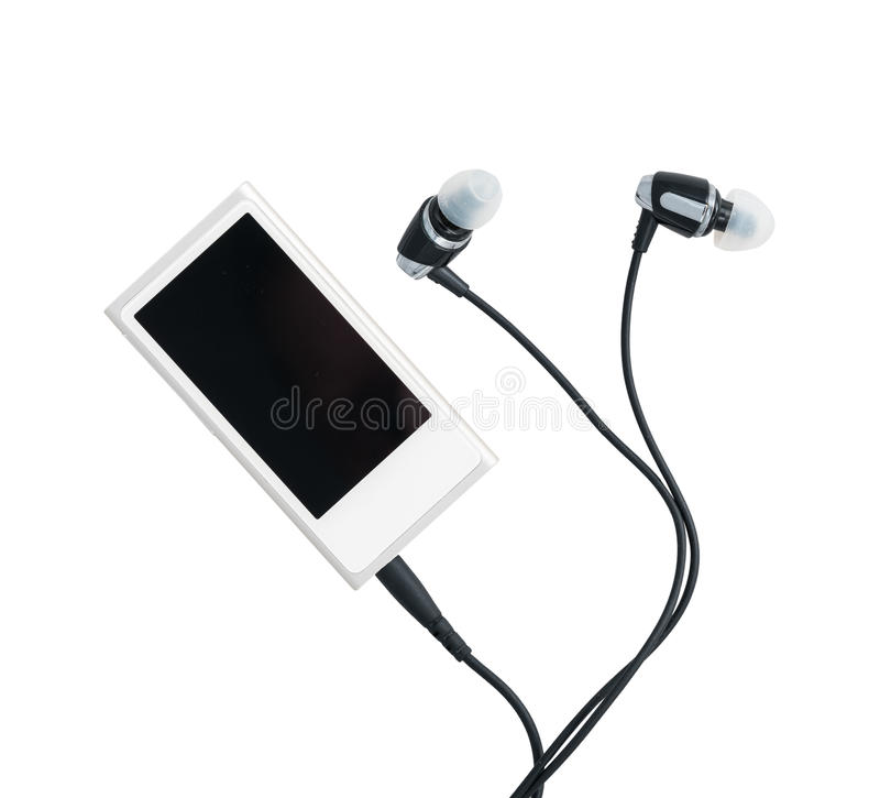 Download Small MP3 Music Player And Earbuds Stock Photo - Image: 83704920