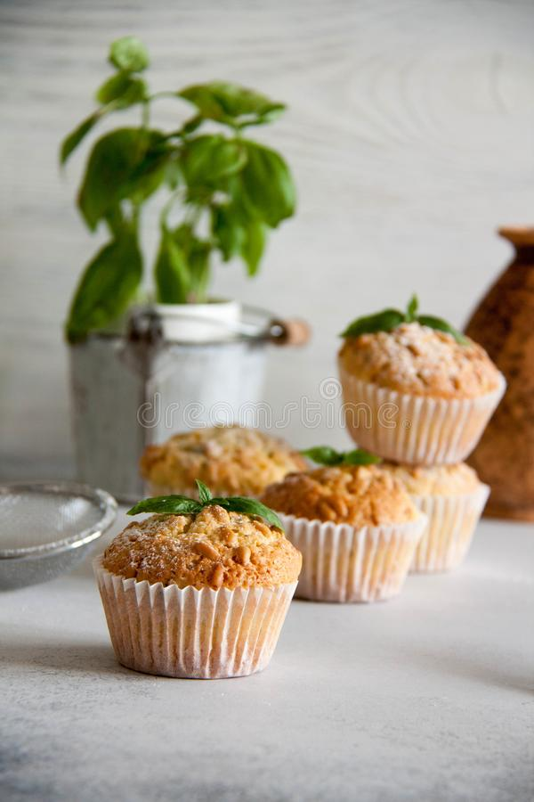 Free Small Muffins With Lemon And Basil Royalty Free Stock Photography - 115793867