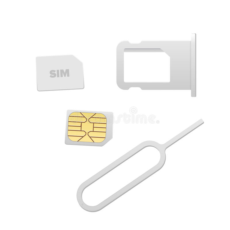 Small Nano Sim Card, Sim Card Tray and Eject Pin for Smartphone. Vector objects isolated on white. Realistic vector. Icons. Top view vector illustration