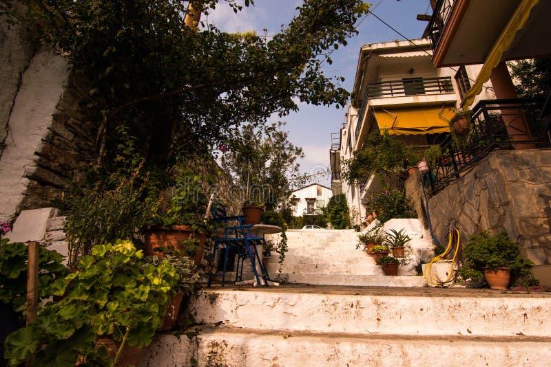 Small street in Greece stock photos