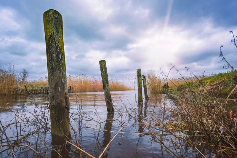 Natural harbor by the sea. Small natural harbor on the Szczecin Lagoon on the island of Usedom royalty free stock image