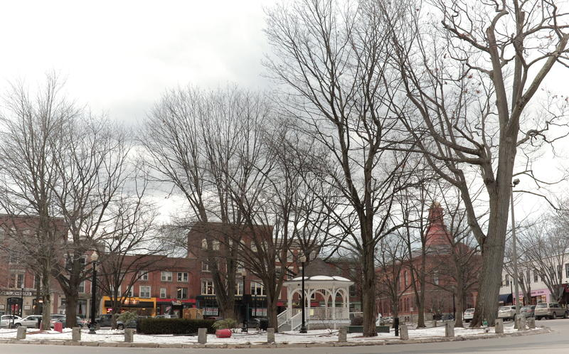 The small New England town of Keene, New Hampshire and its village green. The small New England town of Keene, New Hampshire and its main village square is shown stock image