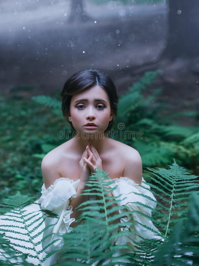 Small newborn wood elf is begging for mercy, the spirit as a symbol of fear and danger before cruel people, cute dark. Haired girl sits in tropical green leaves stock image