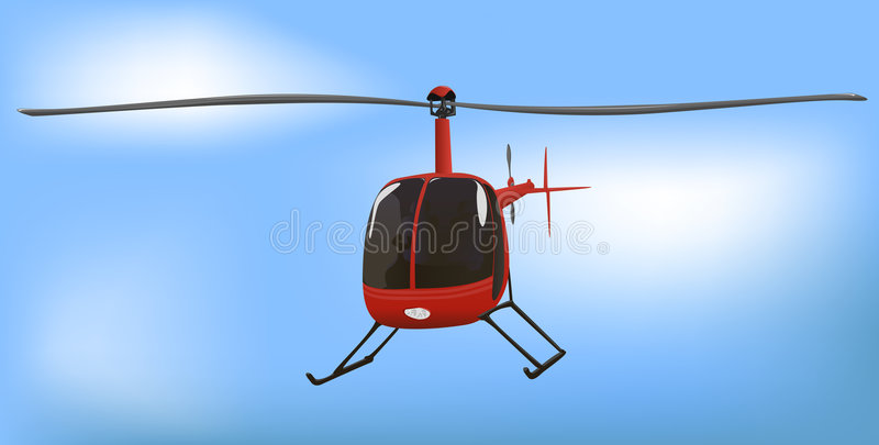 Small News or Traffic Helicopter. Vector Illustration stock illustration
