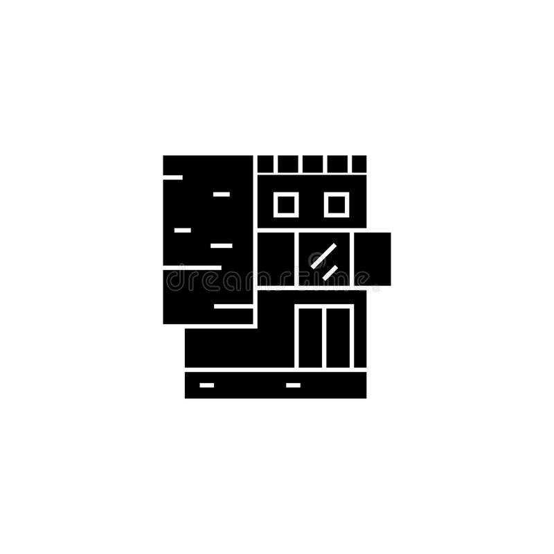 Small office building black icon concept. Small office building vector sign, symbol, illustration. stock illustration