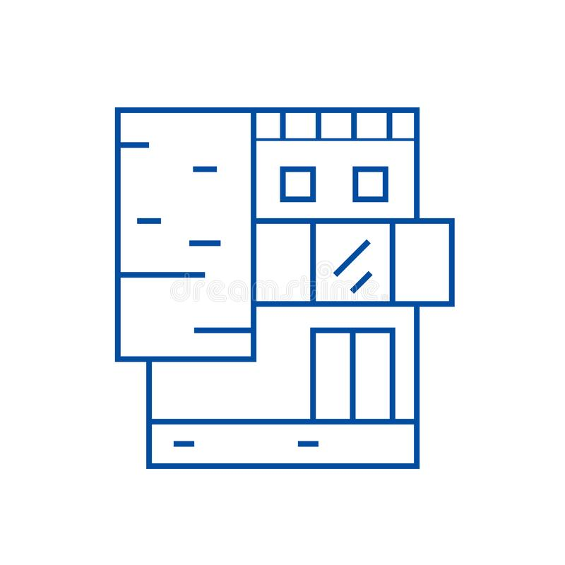 Small office building line icon concept. Small office building flat  vector symbol, sign, outline illustration. royalty free illustration
