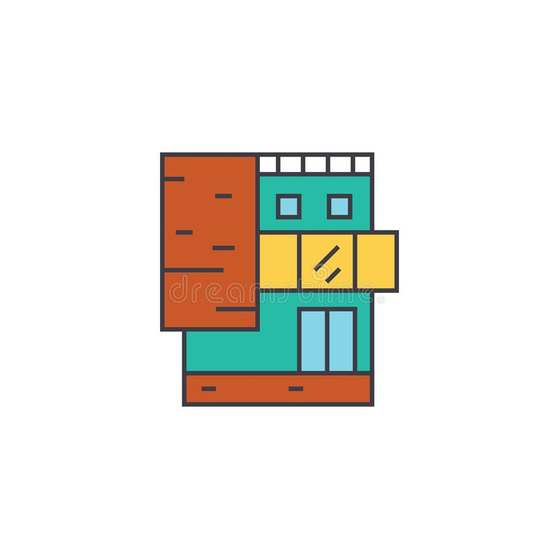 Small office building line icon concept. Small office building flat vector sign, symbol, illustration. royalty free illustration