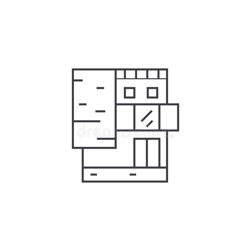 Small office building thin line icon concept. Small office building linear vector sign, symbol, illustration. vector illustration