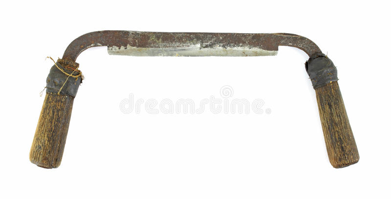 Small old draw knife. An old draw knife used to debark trees on a white background stock photo