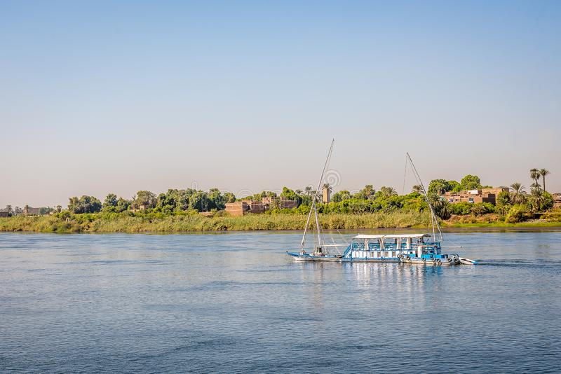 Small old fashion crusing boat up the Nile, Egypt, october 28, 2018 royalty free stock photo