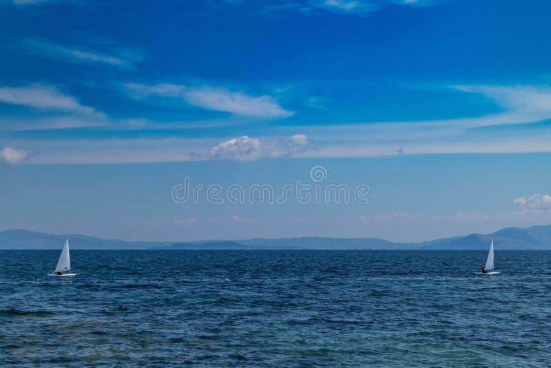 Small optimist boats with white sails, blue sky and sea background. Sailing race. Small optimist boats with white sails, blue sky and sea background, Aegean sea stock photos