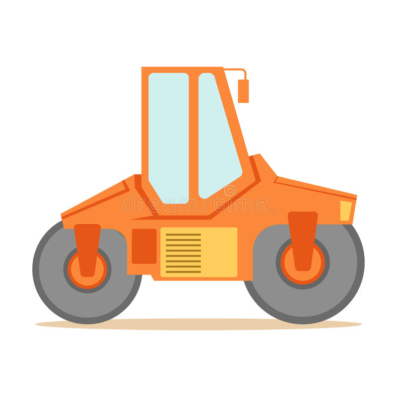 Small Orange Paver Machine , Part Of Roadworks And Construction Site Series Of Vector Illustrations royalty free illustration