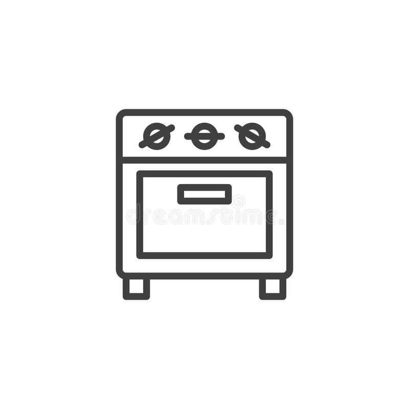 Small oven line icon. Outline vector sign, linear style pictogram isolated on white. Kitchen stove symbol, logo illustration. Editable stroke stock illustration
