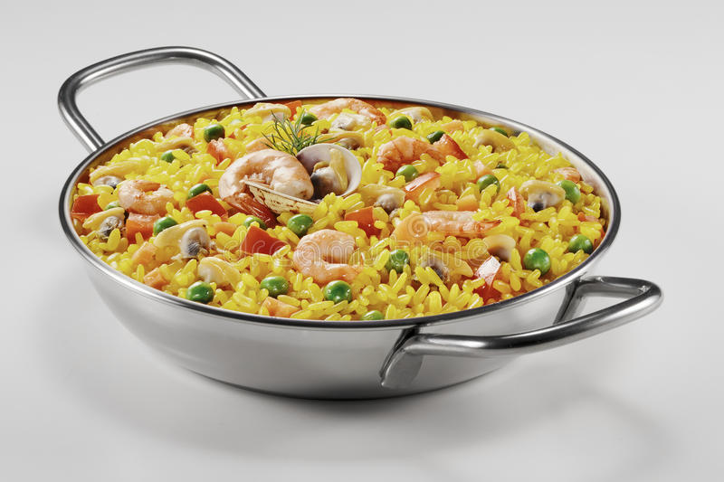 Small paella in a pan royalty free stock photo