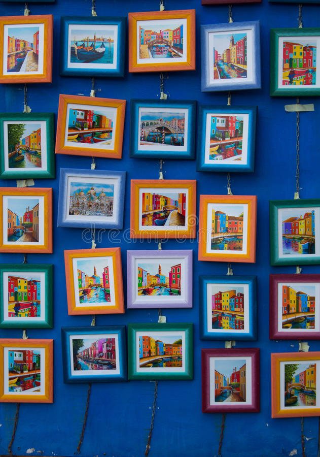Small paintings of venice royalty free stock images