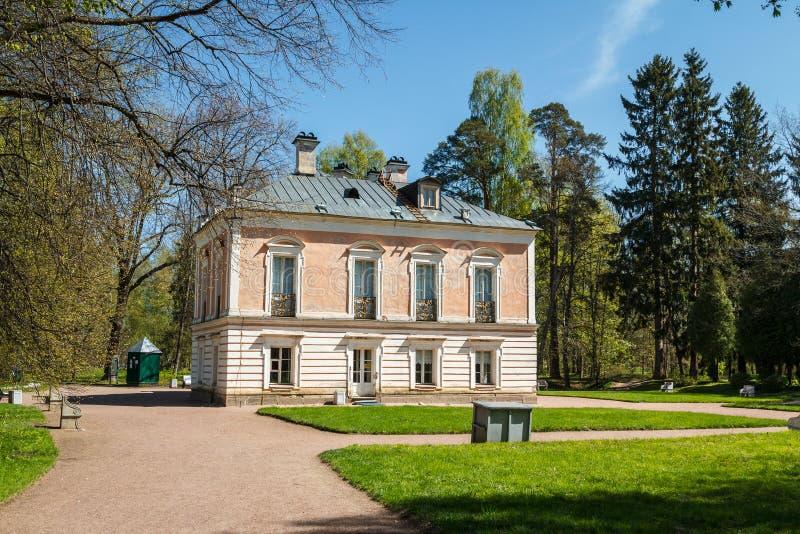 Small palace in the park of Lomonosov & x28;Oranienbaum& x29;. Russia stock photo