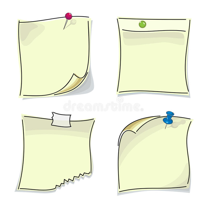 Small paper sticky notes pinned buttons royalty free illustration