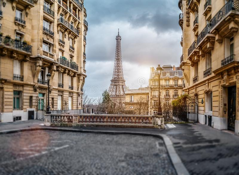 The eifel tower in Paris from a tiny street stock images
