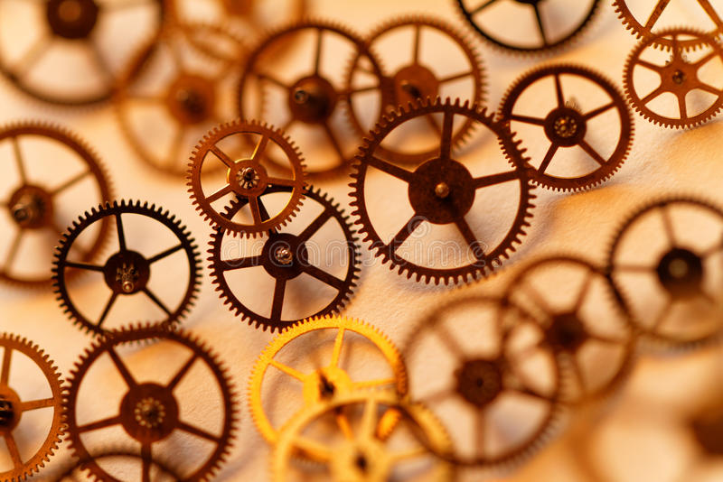 Small parts of clock. Detail of clock parts for restoration royalty free stock photo