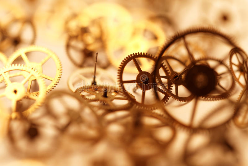Small parts of clock. Detail of clock parts for restoration stock photos