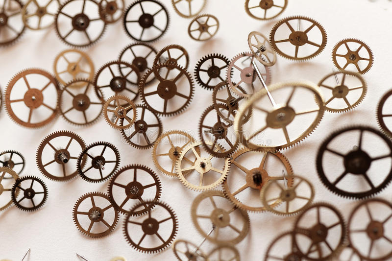 Small parts of clock. Detail of clock parts for restoration stock photography