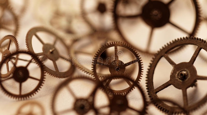 Small parts of clock. Detail of clock parts for restoration stock image
