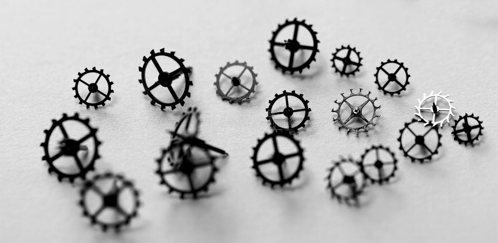 Small parts of clock. Detail of clock parts for restoration royalty free stock photography
