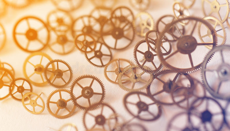 Small parts of clock. Detail of clock parts for restoration - close-up photo royalty free stock photos